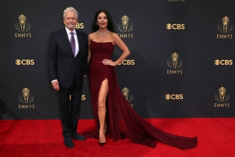 Michael Douglas and Catherine Zeta-Jones arrive at the 73rd Emmy Awards, September 19, 2021 in Los Angeles, California.