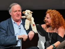 "Mallory Lewis and Lambchop greet Mark Evanier at ""But the Characters Live On!"" in the Wolf Theatre at the Saban Media Center in North Hollywood, California, March 2, 2017."