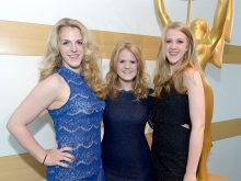 (L-R) Maggie Smolka, Julia Smolka, and Lauren Smolka at the cocktail party at the 36th College Television Awards at the Skirball Cultural Center in Los Angeles, April 23, 2015.
