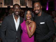 Sterling K. Brown, Niecy Nash, and Colman Domingo at the Performers Peer Group Celebration, August 22, 2016, at the Montage Beverly Hills in Beverly Hills, California.
