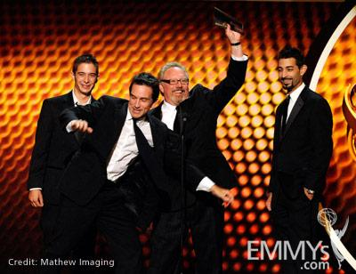 """Winners of Best Cinematography for Nonfiction for """"Survivor"""" onstage during the 62nd Primetime Creative Arts Emmy Awards"""