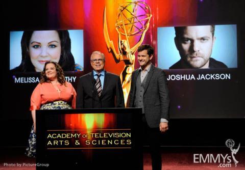 Melissa McCarthy, John Shaffner and Joshua Jackson at the 63rd Primetime Emmy Awards Nominations Ceremony