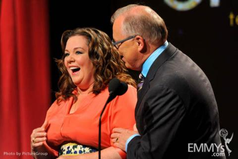 Melissa McCarthy & John Shaffner at the 63rd Primetime Emmy Awards Nominations Ceremony