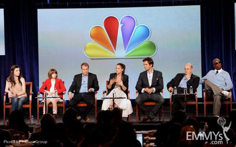 Margo Harshman, Joey King, Tad Quill, Amanda Peet, David Walton, Jeffrey Tambor and J.B. Smoove onstage during the Bent panel at
