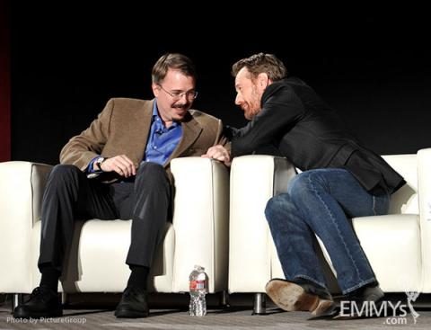 Vince Gilligan and Bryan Cranston participate in an Evening with Breaking Bad