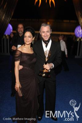 Archie Panjabi and Alan Cumming at the 62nd Primetime Emmys Governors Ball