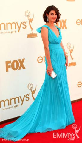 Cobie Smulders arrives at the Academy of Television Arts & Sciences 63rd Primetime Emmy Awards at Nokia Theatre L.A. Live