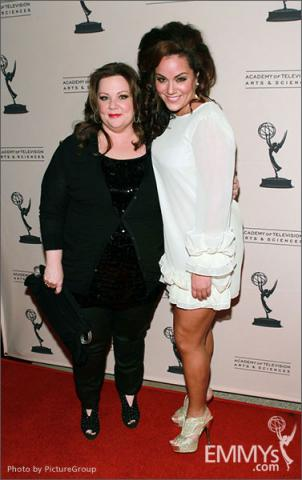 Melissa McCarthy and Katy Mixon arrive at an Evening with Mike & Molly