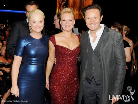(L-R) Amy Poehler, Martha Plimpton and Mark Burnett backstage
