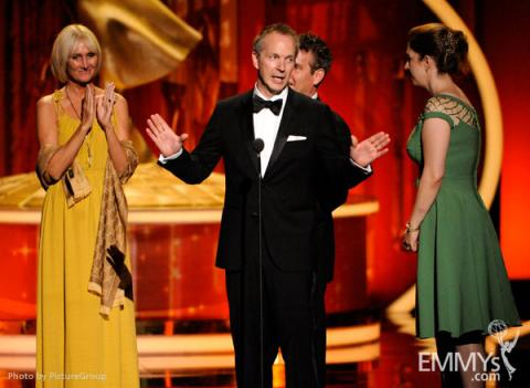 """""""The Kennedys"""" Makeup Team accepting award at the Academy of Television Arts and Sciences 2011 Primetime Creative Arts Emmys"""