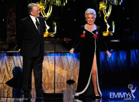 Bob Mackie and Mitzi Gaynor presenting onstage at the Academy of Television Arts and Sciences 2011 Primetime Creative Arts Emmys