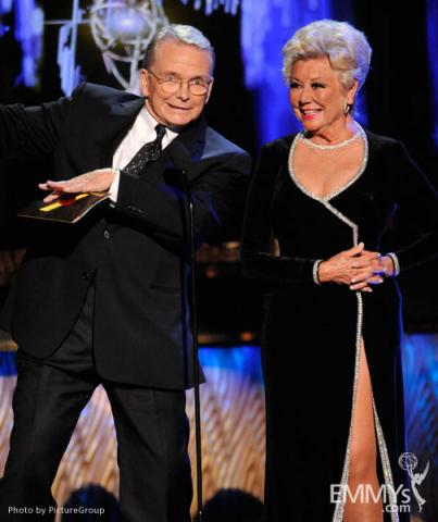 Bob Mackie and Mitzi Gaynor presenting onstage at the Academy of Television Arts and Sciences 2011 Primetime Creative Arts Emmy