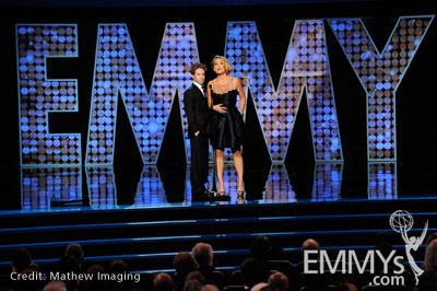 Actors Seth Green and Erika Christensen speak onstage during the 62nd Primetime Creative Arts Emmy