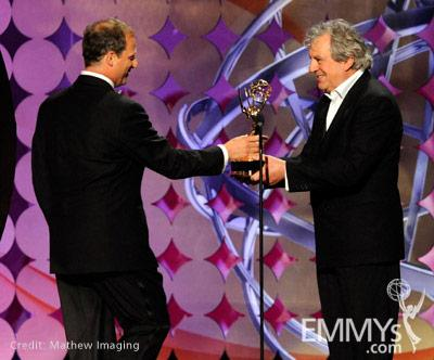 """Barak Goodman accepts the Best Direction for Nonfiction for """"My Lai"""" from Terry Jones onstage"""