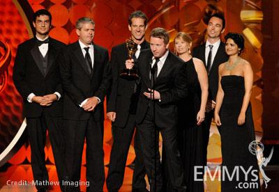 """Winners of Best Visual Effects in a Series for """"CSI: Crime Scene In"""" onstage during the 62nd Primetime Creative Arts Emmy Awards"""