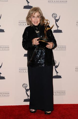 June Foray poses with her Governors Award at the 65th Creative Arts Emmys