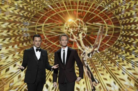 Jimmy Kimmel and Neil Patrick Harris on stage at the 65th Emmys