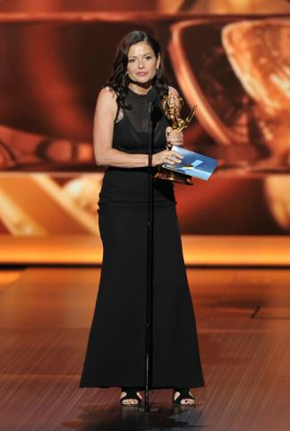 Gail Mancuso on stage at the 65th Emmys