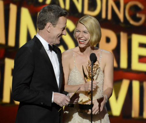 Bryan Cranston and Claire Danes on stage at the 65th Emmys