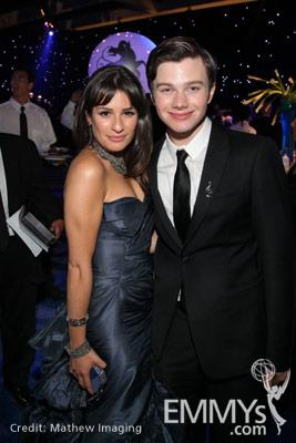 Lea Michele and Chris Colfer at the 62nd Primetime Emmy Awards