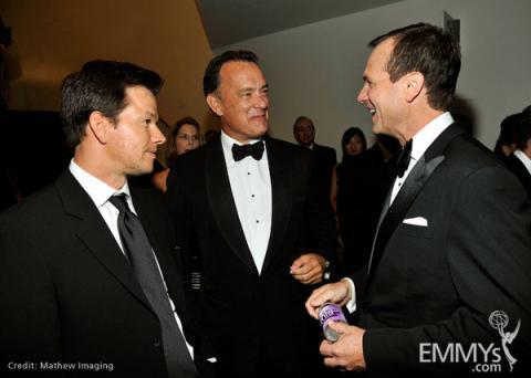 Actors Mark Wahlberg, Tom Hanks and Bill Paxton