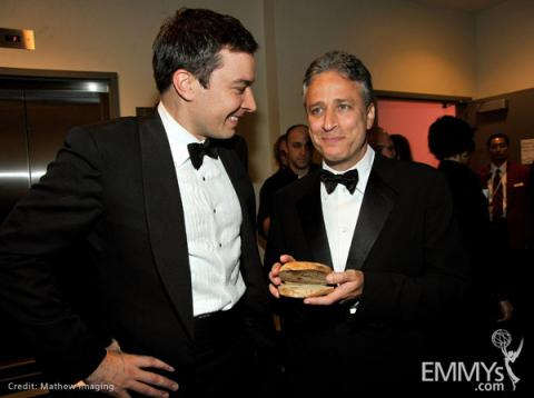 TV personalities Jimmy Fallon and Jon Stewart