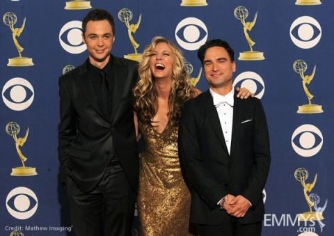 Actors Jim Parsons, Kaley Cuoco and Johnny Galecki