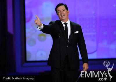 Comedian Stephen Colbert speaks onstage at the 62nd Annual Primetime Emmy Awards held at the Nokia Theatre