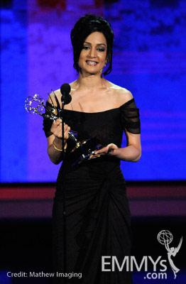 Actress Archie Panjabi accepts her award onstage at the 62nd Annual Primetime Emmy Awards held at the Nokia Theatre