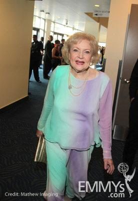 Betty White poses in the Green Room during the 62nd Annual Primetime Emmy Awards held at Nokia Theatre