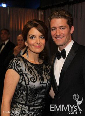 Tina Fey and Matthew Morrison in the Green Room during the 62nd Annual Primetime Emmy Awards held at Nokia Theatre
