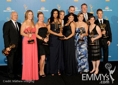 Tom Colicchio, Padma Lakshmi and Gail Simmons pose in the press room at the 62nd Annual Primetime Emmy Awards held at the Nokia