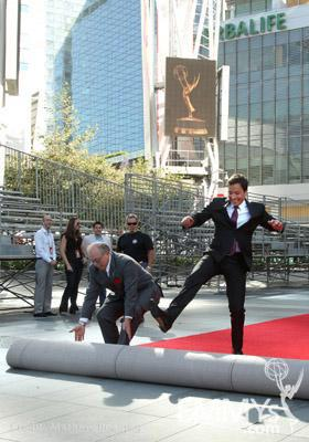 John Shaffner (L) & Jimmy Fallon at the red carpet rollout for the 62nd Primetime Emmy Awards held at the Nokia Theatre