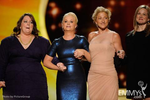 Melissa McCarthy, Amy Poehler, Edie Falco and Laura Linney onstage at the 63rd Primetime Emmys