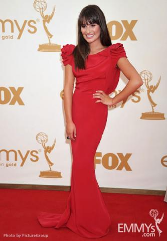 Lea Michele arrives at the Academy of Television Arts & Sciences 63rd Primetime Emmy Awards at Nokia Theatre L.A. Live