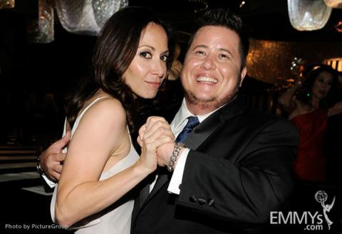 (L-R) Jennifer Elia and Chaz Bono attends the 2011 Academy of Television Arts & Sciences Primetime Creative Arts Emmy Awards