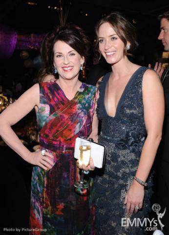 Megan Mullally (L) and Emily Blunt at the Governors Ball during the Academy of Television Arts & Sciences 63rd Primetime Emmys