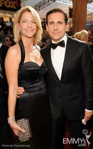 Nancy Carell and Steve Carell (R) arrive at the Academy of Television Arts & Sciences 63rd Primetime Emmy Awards