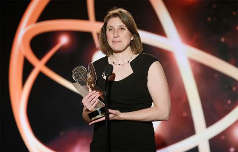 "Deia Schlosberg of Montana State University accepts the award in the Documentary category for ""Backyard"" at the 35th College Television Awards"