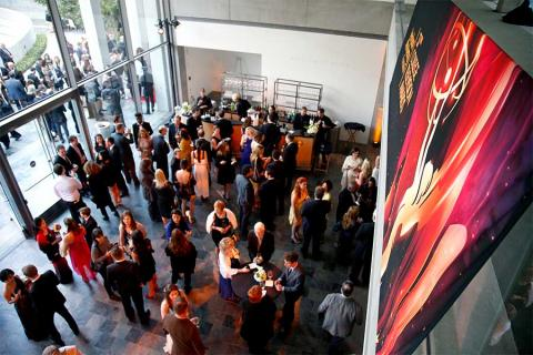 The crowd enjoys the reception at the 37th College Television Awards at the Skirball Cultural Center on Wednesday, May 25, 2016, in Los Angeles.