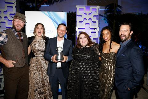 Chris Sullivan, Mandy Moore, Dan Fogelman, Chrissy Metz, Susan Kelechi Watson, and Milo Ventimiglia at the 2017 Television Academy Honors at the Montage Hotel on Thursday, June 8, 2017, in Beverly Hills, California.