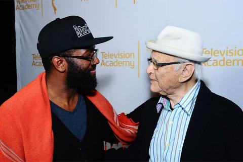Baratunde Thurston greets Norman Lear on the red carpet at An Evening with Norman Lear at the Montalban Theater in Hollywood.
