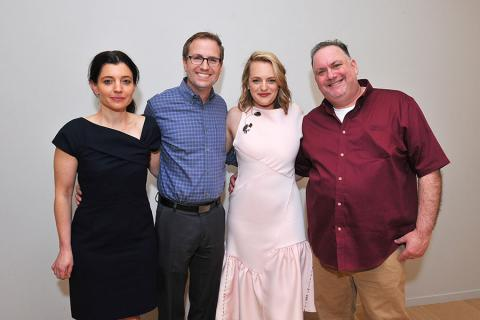 Beatrice Springborn, Maury McIntyre, Elisabeth Moss, and Bruce Miller at The Handmaid's Tale: From Script to Screen at the Wolf Theatre at the Saban Media Center in North Hollywood, California.