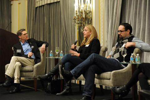Bob Bergen, Lisa Marber-Rich and Tim Walsh at The Business of Voiceover in New York City.