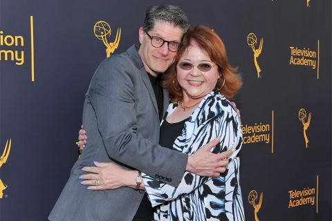 Bob Bergen and Television Academy governor Patrika Darbo at WORDS + MUSIC, presented Thursday, June 29, 2017 at the Television Academy's Wolf Theatre at the Saban Media Center in North Hollywood, California.
