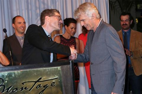 Television Academy Governor Bob Bergen and 66th Primetime Emmy nominees Billy Bob Thornton, Tony Hale, Minnie Driver, Allison Janney and Ty Burrell at the Performers Peer Group nominee reception.