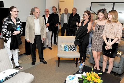 Family and friends wish Bob Newhart a happy birthday at The Rise of the Cerebral Comedy: A Conversation with Bob Newhart, presented Tuesday, Aug. 8, 2017, at the Television Academy's Wolf Theater at the Saban Media Center in North Hollywood, California.