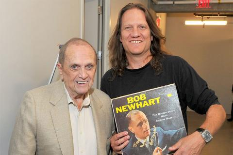 Bob Newhart and Television Academy governor Tony Carey at The Rise of the Cerebral Comedy: A Conversation with Bob Newhart, presented Tuesday, Aug. 8, 2017, at the Television Academy's Wolf Theater at the Saban Media Center in North Hollywood, California.