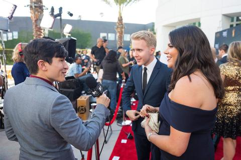 Students are interviewed on the red carpet at the 38th College Television Awards presented by the Television Academy Foundation at the Saban Media Center on Wednesday, May 24, 2017, in the NoHo Arts District in Los Angeles.