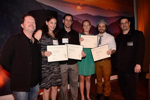 Chuck Sheetz and Russell Calabrese with the team from Bob's Burgers at the Animation and Children's Programming Nominee Reception in North Hollywood, California.